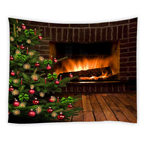 qianliansheji Christmas Christmas Tree Tapestry, Stove Flame Burning Retro Farmhouse Decoration Tapestry Non-Fading Waterproof Color Christmas Tree Wood Grain Background Tapestry 80x60 (Burning Wood Retro Stove)