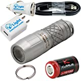 Klarus Mini One 130 Lumens CREE XP-G3 LED Bright USB Rechargeable Finger-sized Waterproof Keychain Flashlight - Rotary Switch with 1x10180 Battery (Titanium) w/Lightjunction USB Car and Wall Adapters