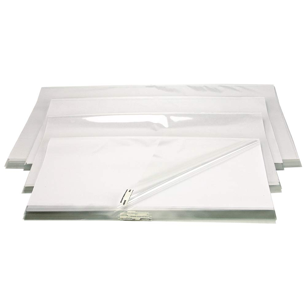 The Library Store Open Edge Adjustable Book Jacket Covers Assortment Pack 2 mil Sheets with Tab 100/Box