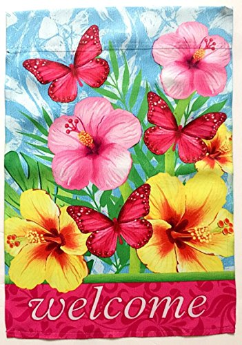 Pink Butterflies Welcome Garden Flag; 12 inches by 18 inches