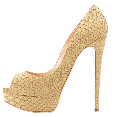 MERUMOTE Women's Aahe Stiletto Heel Platform Peep Toe  Beige-Snakeskin Patent Leather  Dress Pumps - 9 B(M) US -