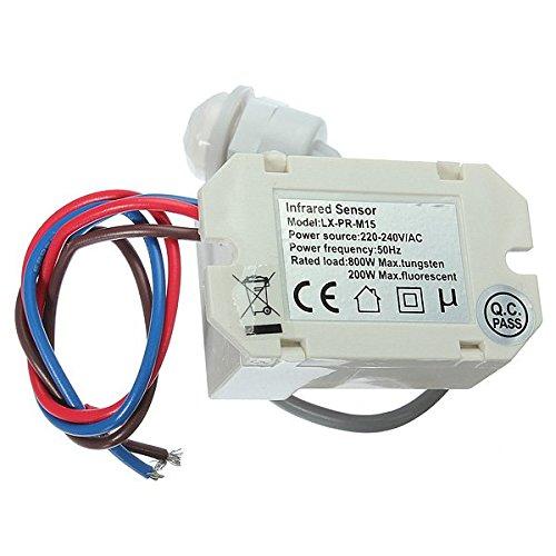 KUNSE 220V Mini Pir Sensor De Movimiento Detector De 12V DC Temporizador Relé Relay Caravana Automotriz Alarma: Amazon.es: Hogar