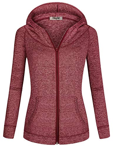 Hibelle Red Zip Up Hoodie Women, Ladies Nice Long Sleeve Zipper Front Sweatshirt with Hood Casual Side Pocket Jersey Knit Slim fit Lightweight Fast Dry Aesthetic Top Clothing Wine Medium