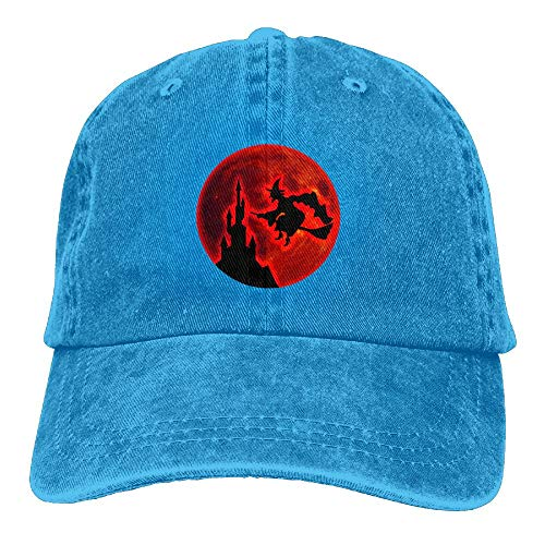 Arsmt Halloween Witch Moon Denim Hat Adjustable Men's Vintage Baseball Hats -