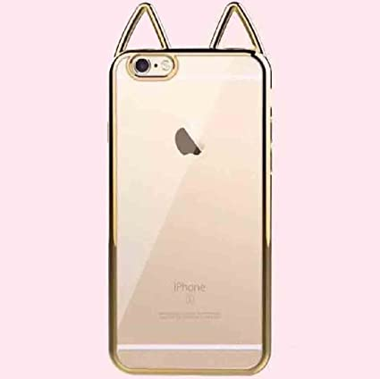 buy online 67a60 3e0a1 iPhone 7 Plus,iPhone 8 Plus Cute Cat Ear Case, Super Soft Electroplate TPU  Transparent Cover, OMORRO New Ultralight Slim Protection Case for iPhone7  ...