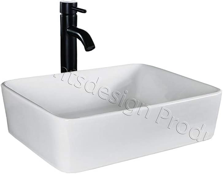 ELIMAX S Bathroom Ceramic Porcelain Vessel Sink Rectangle CV7050E3 Oil Rubbed Bronze Faucet Pop Up drain