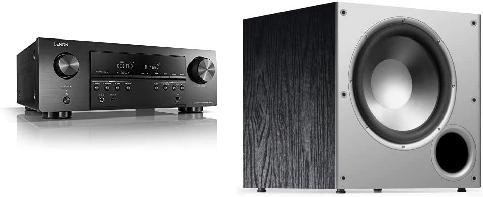"Denon AVR-S540BT Receiver, 5.2 Channel, 4K Ultra HD Audio and Video, Home Theater System, Compatible with HEOS Link for Wireless Music Streaming & Polk Audio PSW10 10"" Powered Subwoofer"
