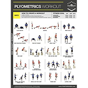 plyometrics high intensity workout - laminated poster / chart for -  strength & cardio training - core - legs - shoulders & back - build muscle,