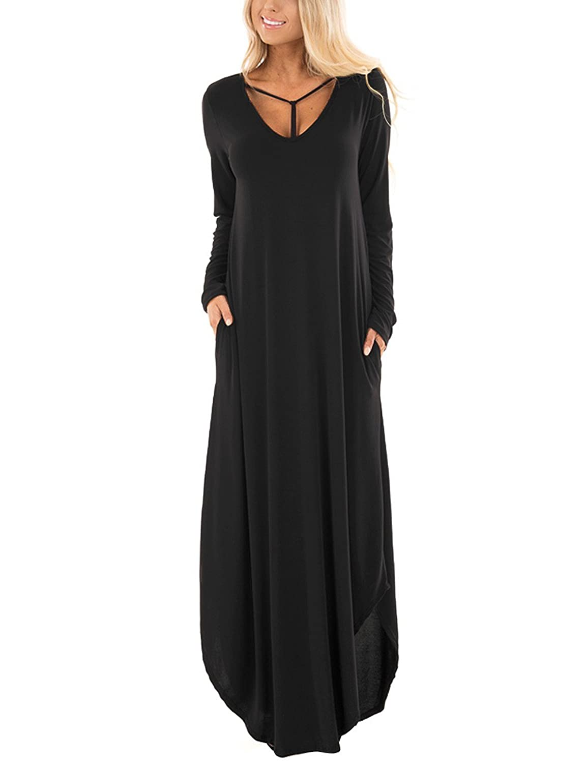 ACKKIA Women's Casual Long Sleeve Y Straps Round Hem Long Maxi Dress with Pocket