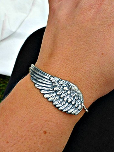 Curved Wing (Curved wing Bracelet. Silver (plated) Antiqued. Wing feather angel cuff. Nature lover. Fashion, accessories. Handmade jewelry, jewellery. Boho, bohemian, yoga jewelry.)