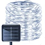 Aluvee Solar Rope Lights,33ft/100LED Waterproof White Outdoor String Lights for Garden Halloween Christmas Party Tree Xmas Decoration