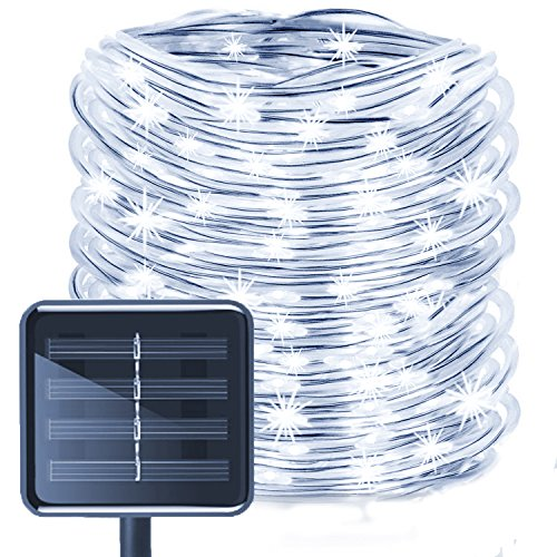 (Aluvee Solar Rope String Light,Garden Decoration Outdoor Waterproof Rope String Christmas Lamp Wedding Party Tree Xmas Decoration Tree Xmas (33ft/100LED,White + PVC)