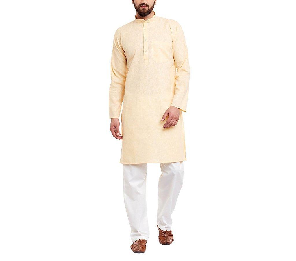 CRAFTSTRIBE Men'S Yellow Cotton Linen Kurta Pyjama