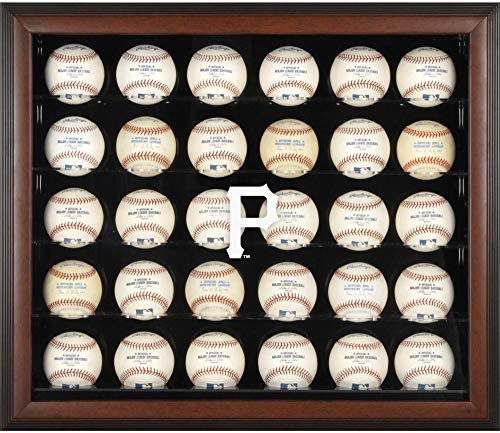 (Sports Memorabilia Pittsburgh Pirates (2014-Present) Logo Brown Framed 30-Ball Display Case - Baseball Logo Display Cases )