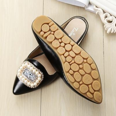 &qq Zapatillas femeninas, cabeza plana Baotou sandalias, zapatillas antideslizantes salvajes, zapatos de moda 38