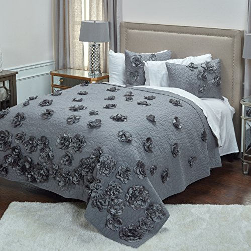 Enchanted Twin Comforter - Rizzy Home QLTBT1654DR007086 Enchanted Quilt,Dark Grey,Twin