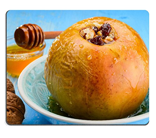 (Qzone Mousepads Baked apples with nuts and honey on blue background IMAGE 27855848 Customized Art Desktop Laptop Gaming mouse Pad)