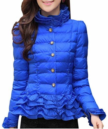 ONTBYB Women's Packable Down Quilted Turtleneck Jacket Ruffle Puffer Coat Blue XL (Ruffle Neck Jacket)