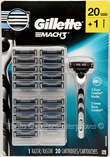 Gillette MACH3 Razor and Cartridges 1 Razor Handle + 20 Cartridges