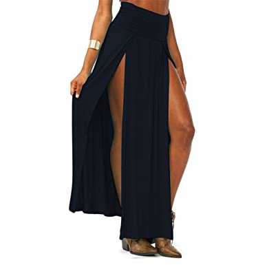 Zeagoo Women's Trends High Waisted Double Slits Maxi Skirt (Black ...