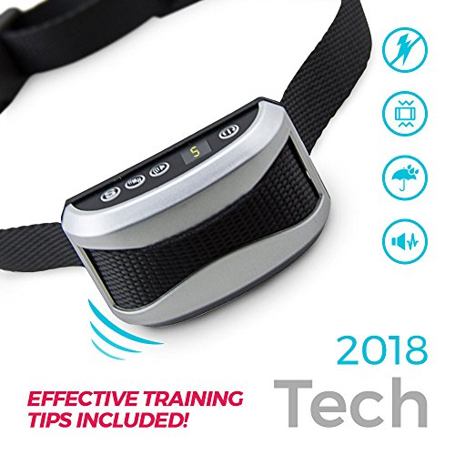 -New Updated for 2018- Anti Bark Control Collar for Dogs, No Shock Humane Anti-Barking Trainer. Effective Sonic Pitch and Strong Vibrate Technology. USB Rechargeable Durable Waterproof! L/M/S dogs by Pettively