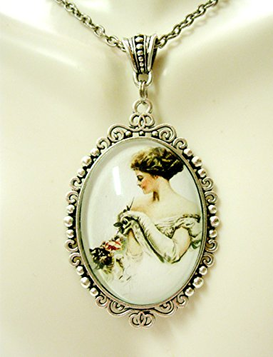 (Pretty girl playing with her cat by Harrison Fisher pendant with chain - CAP09-076)