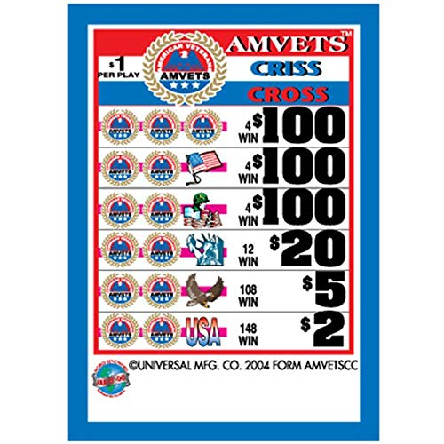 AMVETS Criss Cross 3 Window Pull Tab Tickets - 2627 Tickets per Deal - Total Payout: $2276 ()