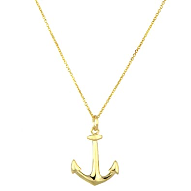 Amazon 18 inch goldtone anchor charm necklace pendant 18 inch goldtone anchor charm necklace aloadofball Image collections