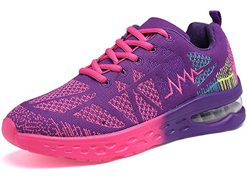 JARLIF Women's Road Running Sneakers Fashion Sport Air Fitness Workout Gym Jogging Walking Shoes (8.5 B(M) US, Purple)