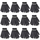 Gelante 6-12 Pairs Adult Winter Knitted Magic Stretch Gloves (12 Pairs: Dark Gray)