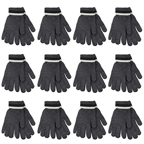 Gelante 6-12 Pairs Adult Winter Knitted Magic Stretch Gloves (12 Pairs: Dark - Glove Mens Gray