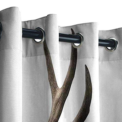 See Thru Skeleton - UNOSEKS LANZON Cabana Curtain Outdoor, Antlers Decor A Deer Skull Skeleton Head Bone Halloween Weathered Hunter Collection Curtains Backdrop (96 x 96 Inches)