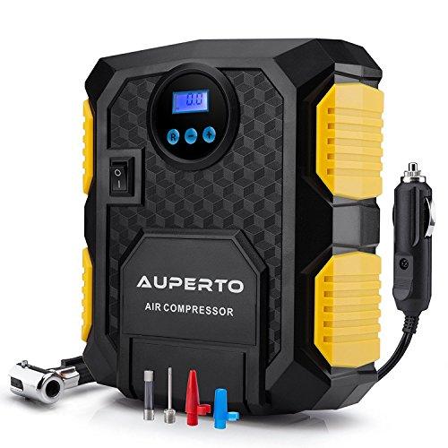 Compresseur Portatif, AUPERTO 150 PSI/10.5 Bar DC 12V Mini Pompe Gonfleur Avec LED La Buse 3 Adaptateurs, Le Câble Brûleur à 3m Pour Objets Gonflables Pneumatiques