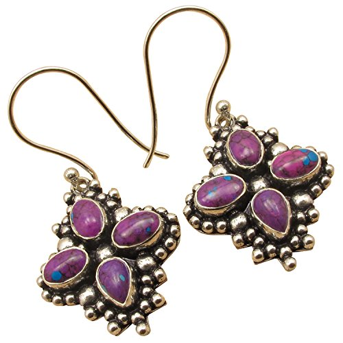 925 Sterling Silver Plated 4 Gemstone FLOWER Earrings Jewelry ! Oxidized Handwork Anniversary (Flower Turquoise Stone)