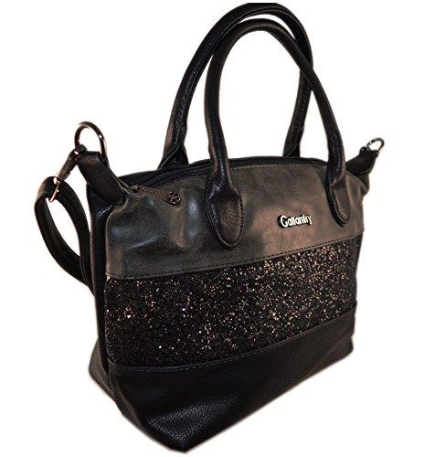 gallantry-sac de mano con purpurina/saco de Ville tamaño mediano compatible con iPad air negro