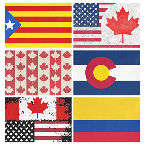 YOULUCK-7 Placemats Set of 6, Catalonia Flag Canada USA Friendship Combination Canadian Symbols Seamless Pattern Colorado American Colombia Dining Table Mats for Home Kitchen Office