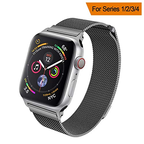 HILIMNY Compatible for Apple Watch Band 38mm 40mm 42mm 44mm, Stainless Steel Mesh Milanese Sport Wristband Loop with Adjustable Magnet Clasp for iWatch Series 1/2/3/4,Space Gray