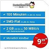 DeutschlandSIM LTE Mini SMS 2 GB [Sim, Micro-Sim und Nano-Sim] monatlich Kündbar (2 GB LTE mit Max. 50 Mbit/s + Datenautomatik, 100 Minuten, SMS-Flat, EU-Roaming Inklusive, 9,99 Euro/Monat)