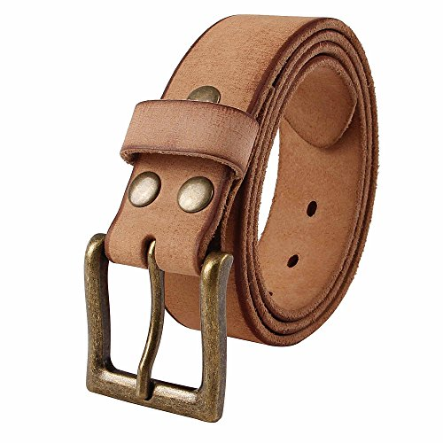 NPET Mens Full Grain Leather Belts Snap on Belt Strap 1 1/2