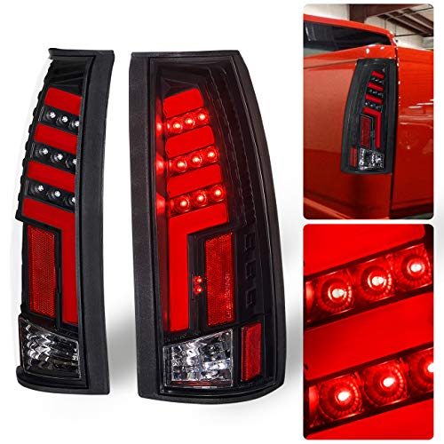 AJP Distributors Chevy GMC C/K C10 1500 2500 3500 Pickup Truck Rear Tail Light Lamps LED Brake Lamp Black Housing Clear Lens Red Tron Neon Tube Style Upgrade Replacement