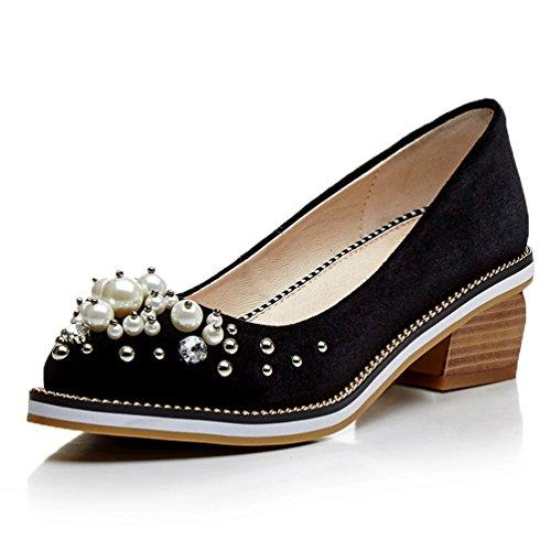 Pearl Heel Heel Womens Shoes Wood Med Shoes Black AIWEIYi Platform Pump wa8I4qq