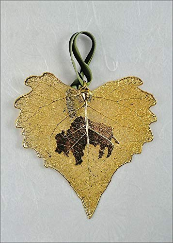 Buffalo Silhouette on Real Cottonwood Leaf in 24K Gold Orn, Real Leaf Silhouette | Sweet Buffalo - 24k Gold Cottonwood Leaf