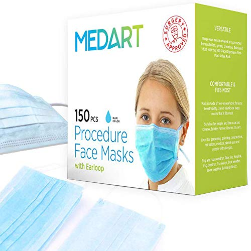 150 Pcs 3-ply Blue Disposable Earloop Face Medical Mask - Used for Dental, Doctor, Surgical, Allergy, Dust, Nail, Germs, Virus, Flu, Air Pollution, Hypoallergenic, Hospital, Smoke - Mouth Face Mask