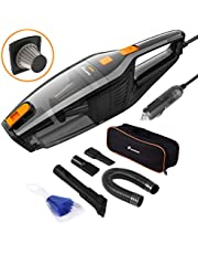Foxnovo Car Vacuum Cleaner,DC 12V 120W High Power,Wet Dry Portable Handheld Auto Vacuum Cleaner for Car with 14.8ft Cable,Stainless Steel HEPA Filter,Carry Bag