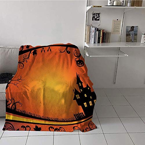 (Khaki home Children's Blanket Casual Print Summer Quilt Comforter (60 by 70 Inch,Halloween,Framework with Curvy Tree Branches Swirls Leaves Gothic Castle Festival,Orange Yellow)