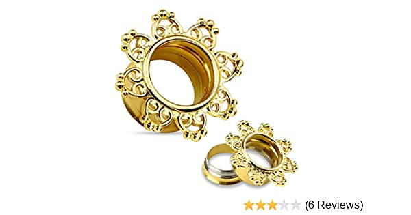 PAIR Gold Tribal Hearts Filigree Internally Threaded Double Flare Tunnels