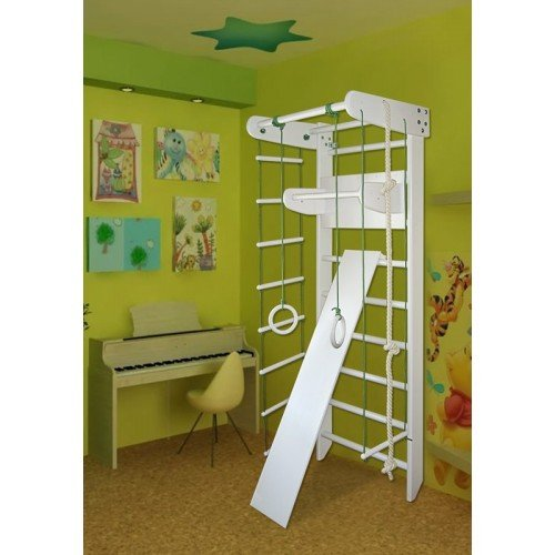 MebliLine Home gymnastic corner Indoor Wooden Playground Swedish ladder Gymnastic sportcomplex (White, Height: 82,7in)