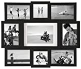 7 space 4by6 frame - Malden 9-Opening Collage Picture Frame - Made to Display One (1) 5x7, Two (2) 4x4, and Six (6) 4x6 Pictures - Black