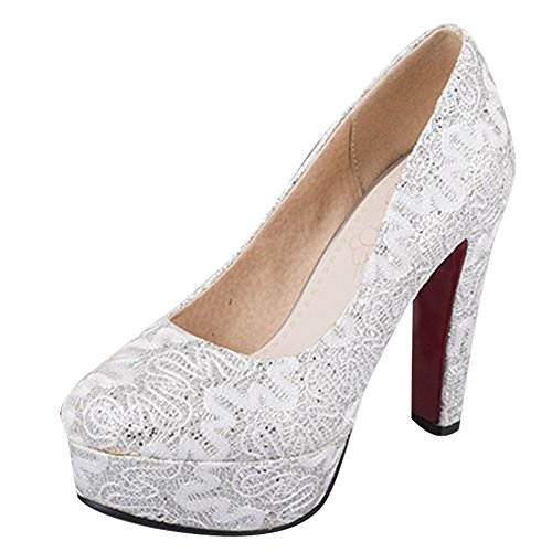 Mee Shoes Damen Pailleten high heels Plateau Pumps Weiß