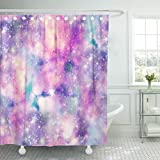 Emvency Shower Curtain Pink Girly Starry Galaxy in Unicorn Colours Blue Space Watercolour Waterproof Polyester Fabric 72 x 72 inches Set with Hooks